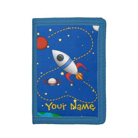 Cool Space Shuttle in Orbit Cartoon Trifold Wallet - tap to personalize and get yours