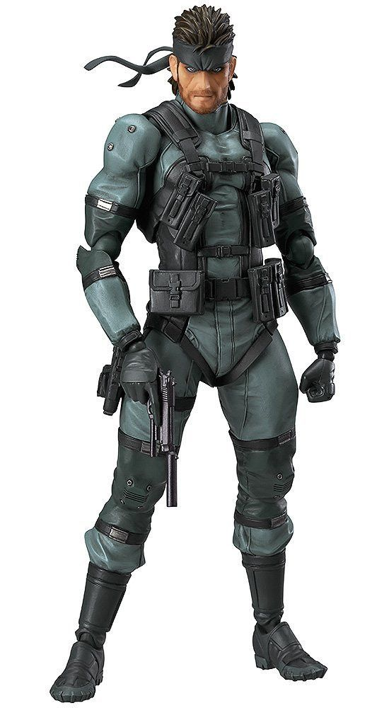 """""""Kept you waiting, huh? I'm at the sneak-point."""" From the popular game Metal Gear Solid 2: Sons of Liberty comes a figma of the main character, Solid Snake! The Snake figma action figure comes with a"""