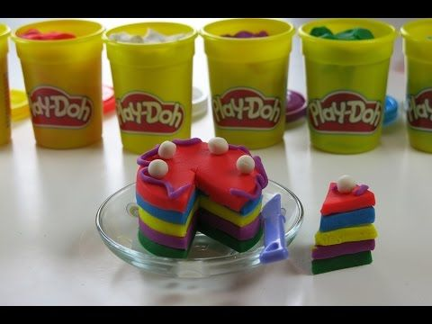 DIY Making a Yummy-Looking Rainbow Play Doh Cake