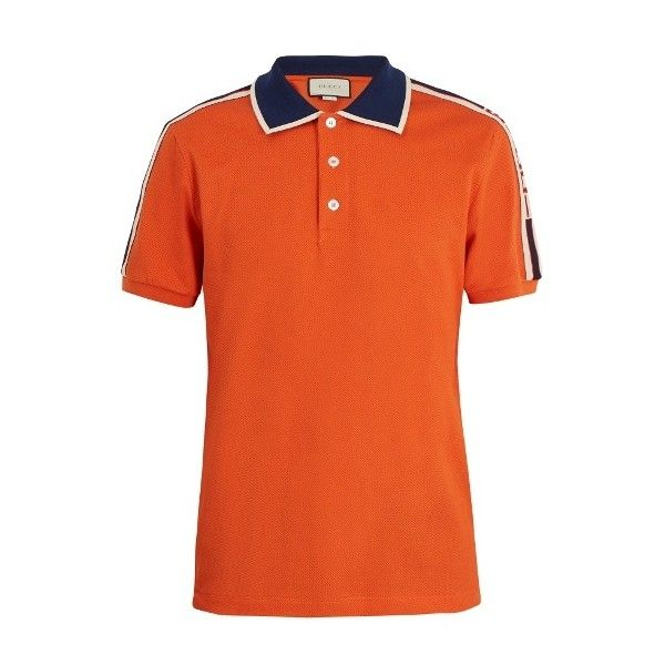 Gucci Web collar polo shirt ($680) ❤ liked on Polyvore featuring men's fashion, men's clothing, men's shirts, men's polos, orange, mens retro shirts, mens orange polo shirt, mens orange shirt, mens logo t shirts and mens polo shirts
