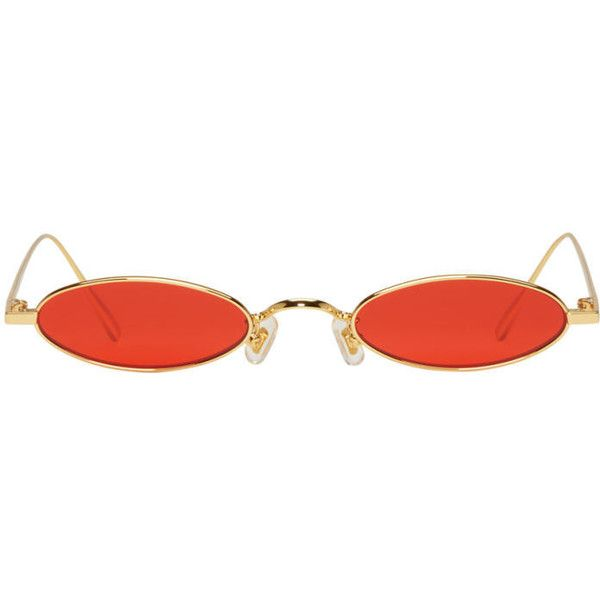2a7a13333d6 Gentle Monster SSENSE Exclusive Gold and Red Plip Sunglasses (€165) ❤ liked  on Polyvore featuring accessories