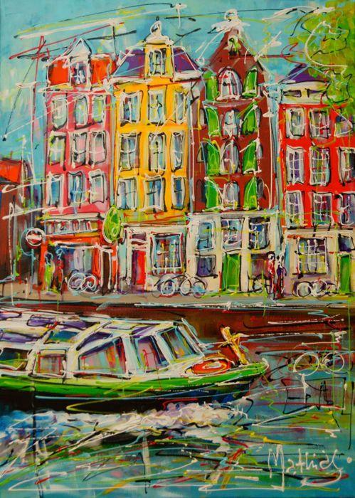 Online veilinghuis Catawiki: Mathias - Canal of Amsterdam, tourist boat