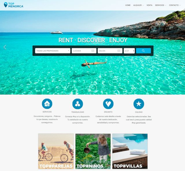 Top Menorca - As well as full-width photos that will make any viewer want to pack up and head straight for the island, this Lodgify customer have created a series of cards which link to mini listing pages displaying the properties which are most suitable for couples, families with kids, rural getaways and so on.  #vacationrentalwebsites #vacationrentals #webdesign #website