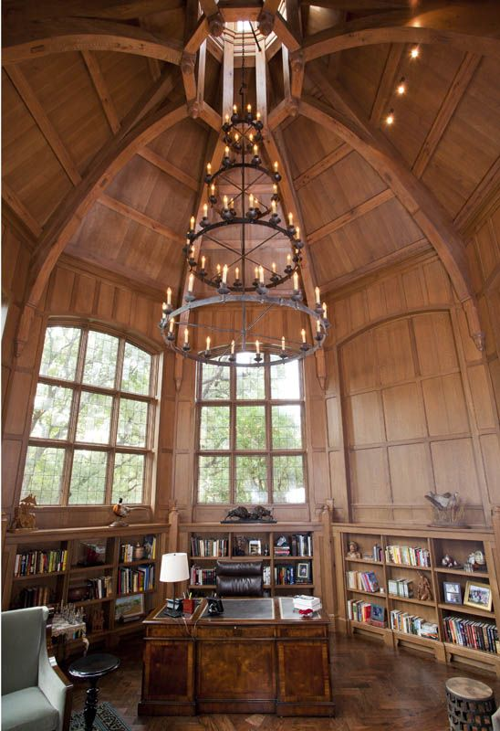 Octagon Library With Beautiful Chandelier   Stunning Timber Frame Home!  Www.texastimberframes.com