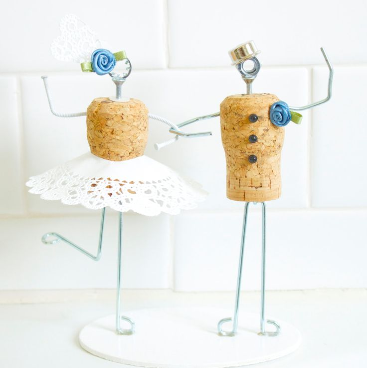 Wedding Cork Boutonniere: Whimsical Champagne Cork Wedding Cake Topper With Dress