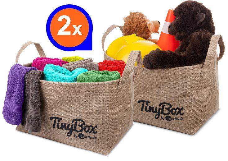 """Storage Bins (2x)-Waterproof & Eco Friendly Jute storage baskets -14.5x10.5x9"""" Baskets for storage"""