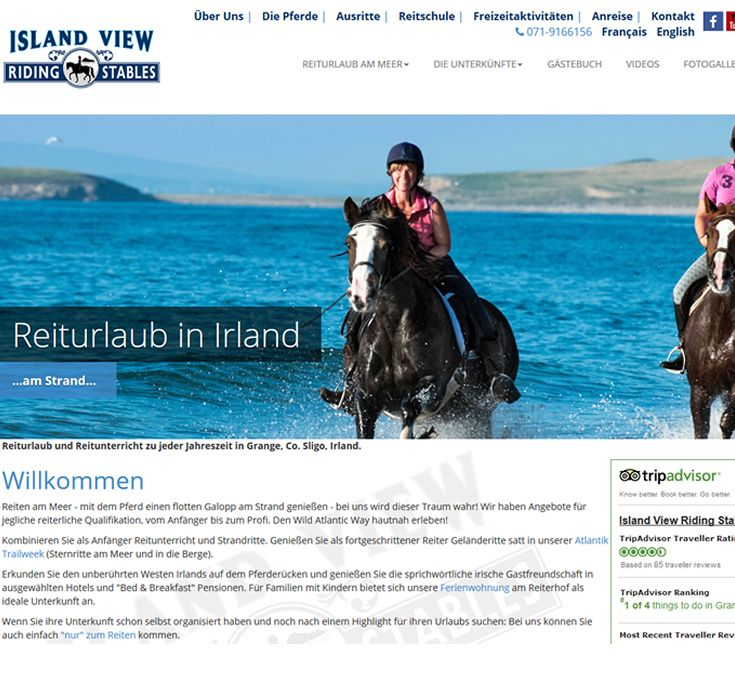 http://www.reiteninirland.de/ German website for Island View Riding Stables in Grange, Co Sligo, designed & built by Format.ie Web Designers. www.format.ie