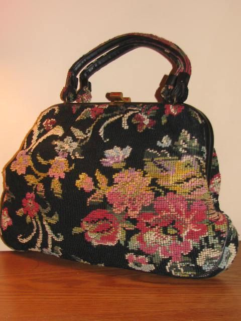 Vintage LARGE CARPET Bag PURSE Kelly Frame Multi by TheGirlSaidYes, $43.00