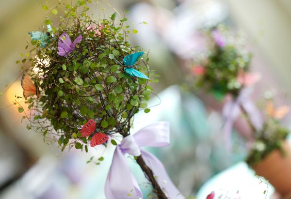 Butterfly Topiary centerpieces for a Butterfly/Fairy party!!