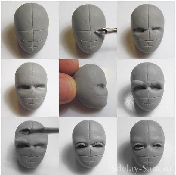 Голова из полимерной глины своими руками