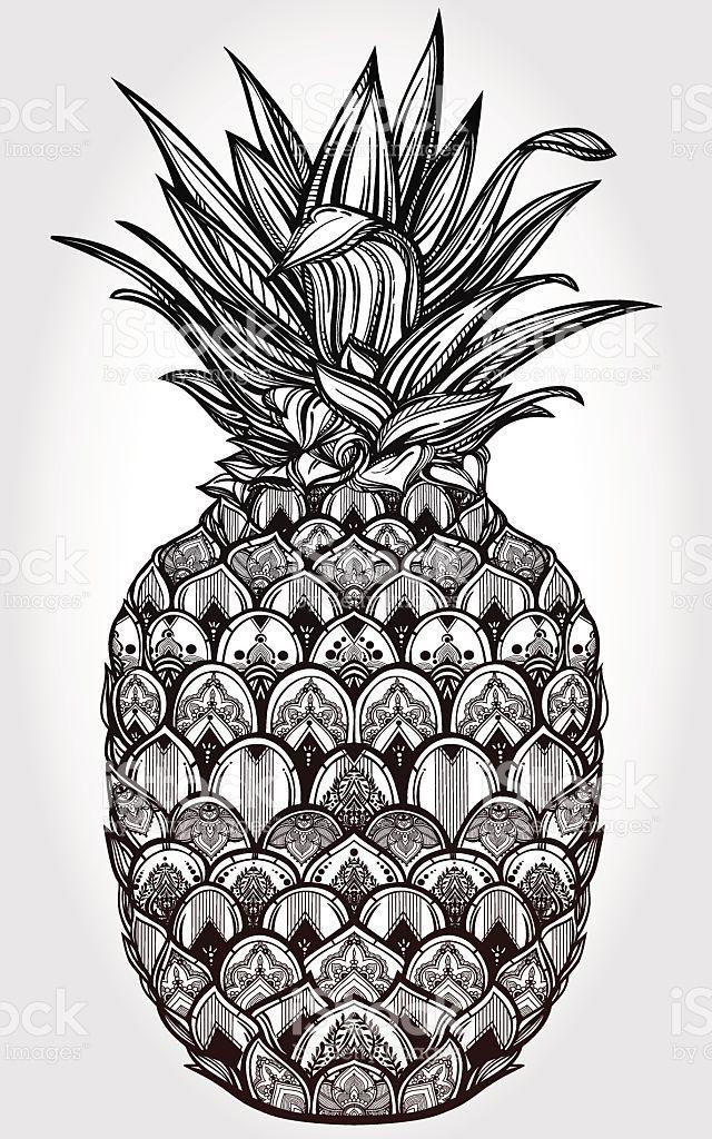 Verzierte Ananas-Frucht Vektor-illustration Lizenzfreies vektor illustration