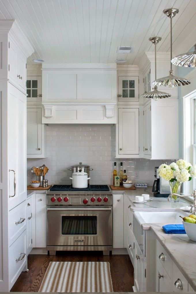 Narrow galley kitchen designed by liz firebaugh of for Small narrow kitchen