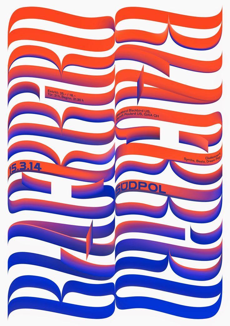 """poster / affiche """"Südpol"""" by Felix Pfäffli (Feixen) (Switzerland, Suisse) #typography"""