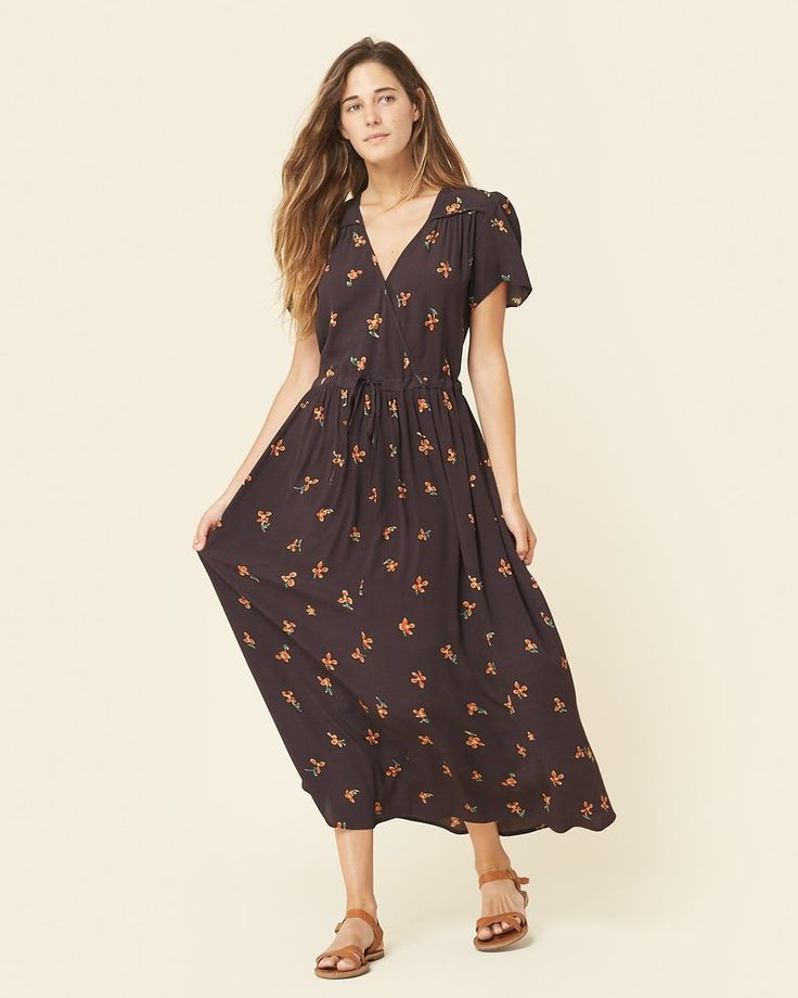 The Dawn Dress | Black and Orange Floral