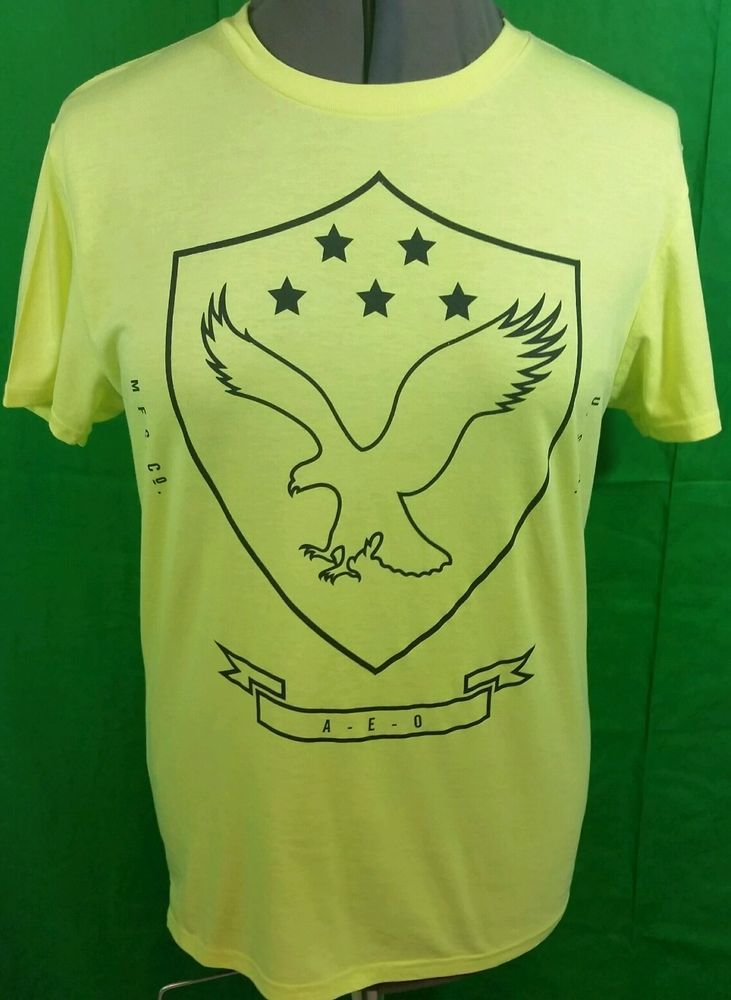 American Eagle Outfitters AE Graphic Crew Tee Mens Neon Yellow T-Shirt USA #AmericanEagleOutfitters #GraphicTee