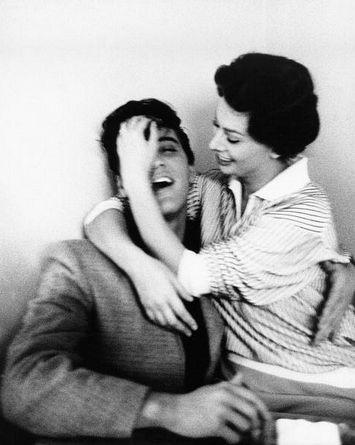 Sophia Loren hugging Elvis in the Paramount cafeteria, February 23, 1958