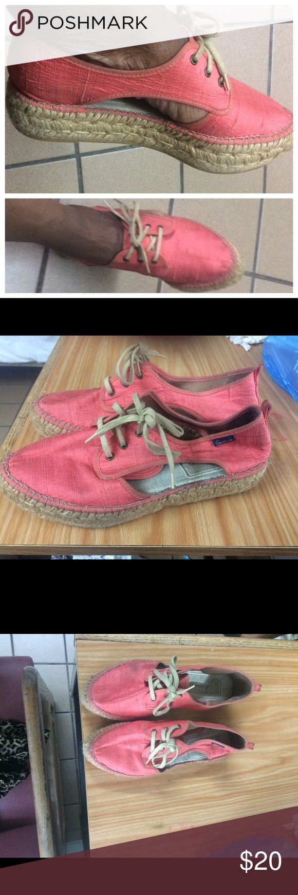 ‼️MAKE OFFER‼️ Espadrille with Double Sole Sz 8 Great summer shoes! Comfy espadrilles with side cut-outs and tie shoe laces. Coral color. Small smudge on toe right side. Price reflects. Good condition Gairno Shoes Espadrilles
