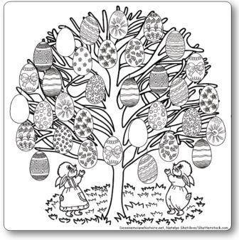 Coloriage géant de Pâques à imprimer. C'est un joli arbre décoré de 33 œufs de Pâques à colorier pour un petit moment de détente seul ou en famille.