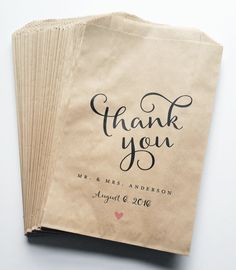 Wedding Candy Buffet Brown Kraft Favor Bags with Calligraphy Script Font and Pink Heart More