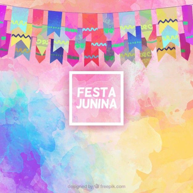 花輪と水彩効果のフェスタジュニーナ背景 無料ベクター