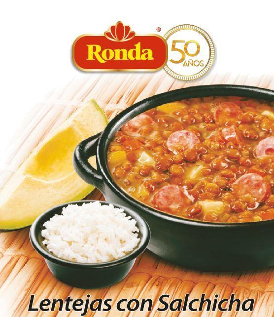 Delicioso plato tipico colombiano, lentejas con salchicha Ronda. En su  aniversario #50 #comida #viaje #food #Arroz #salchihca