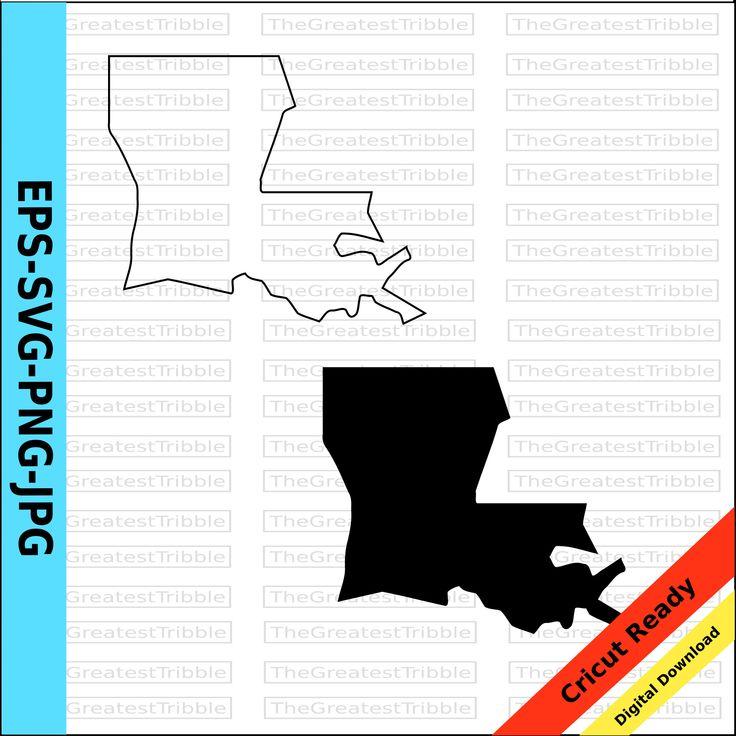 Louisiana State Map Svg Png Jpg Eps Vector Graphic Clip Art Etsy Louisiana State Map State Map Clip Art