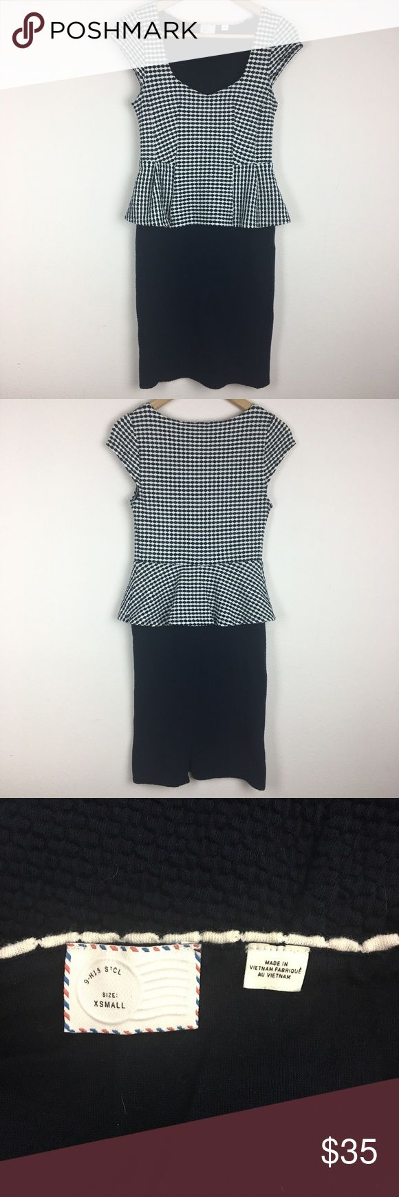 """Postage Stamp Anthropologie Women's Peplum Dress Brand: Postage Stamp. Material: Shell 56% Cotton 43% Polyester 1% Spandex, Lining 97% Rayon 3% Spandex. Color: Navy. Size: XSmall. Measurement (approx): Length 35 1/2"""" Armpit to armpit 14 1/2"""" Waist 13"""" flat lay. Light piling on lining (cannot be seen while wearing dress). Made in Vietnam.  Make an offer. Anthropologie Dresses"""