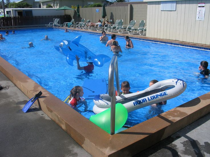 Summer fun in the Pool at Cosy Corner Holiday Park, Mt Maunganui, New Zealand
