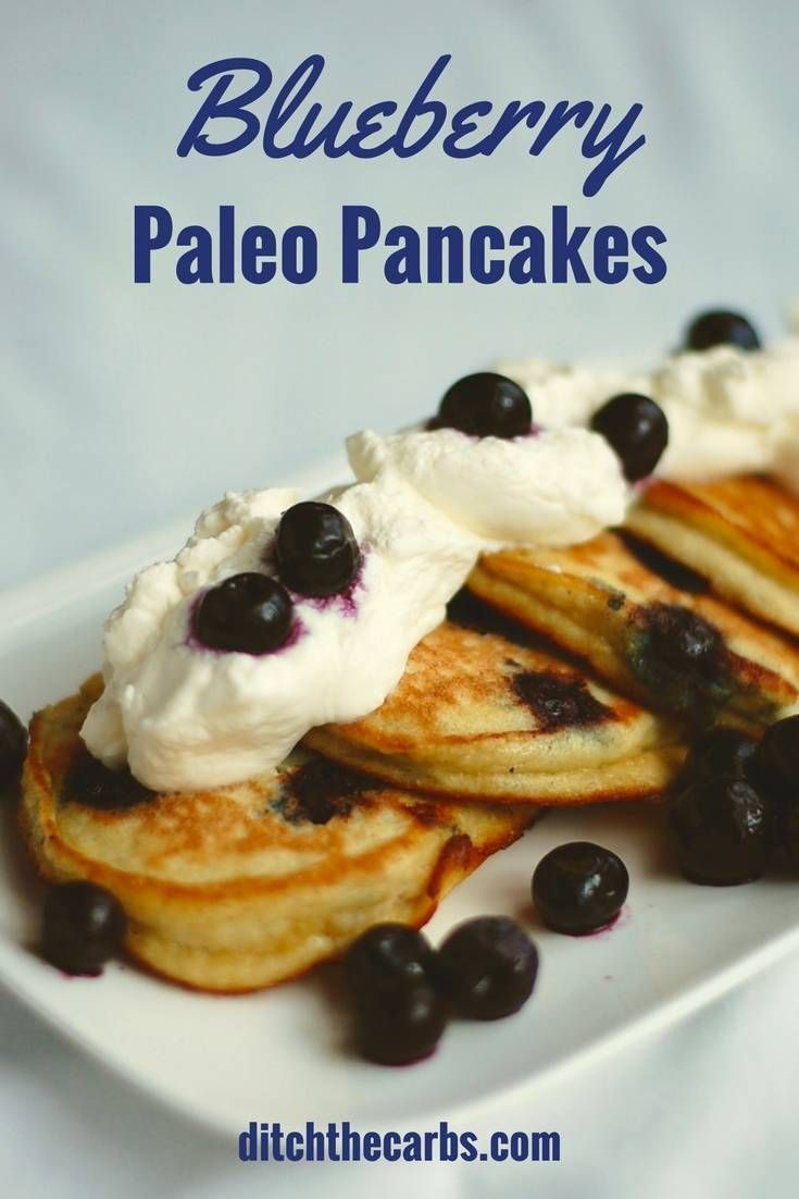 The ultimate easy blueberry paleo pancakes. Sturdy and impossible to fail. Sugar free, low carb, paleo heaven. Can you believe these are only 3.7g net carbs per pancake? | ditchthecarbs.com via @ditchthecarbs