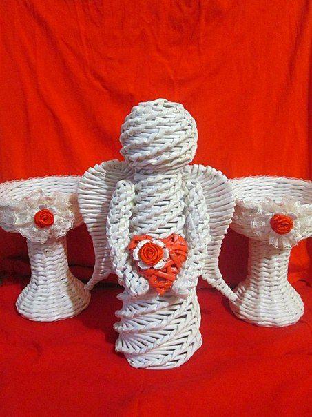 Ангелочек и подсвечники. Для украшения стола на свадьбе.