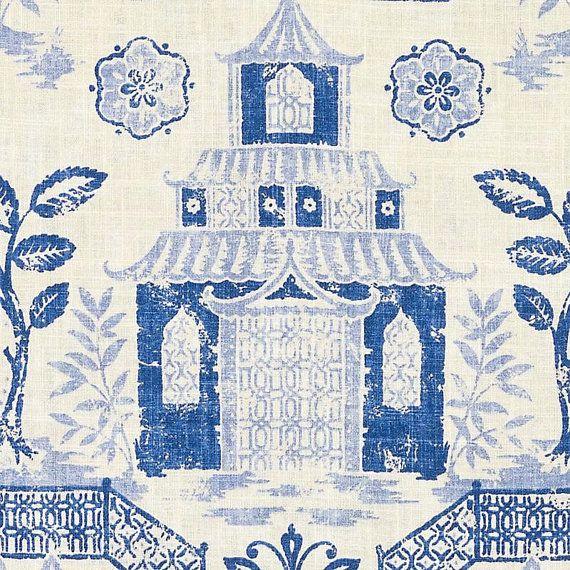 Navy Blue Asian Toile Linen Upholstery Fabric Custom Modern