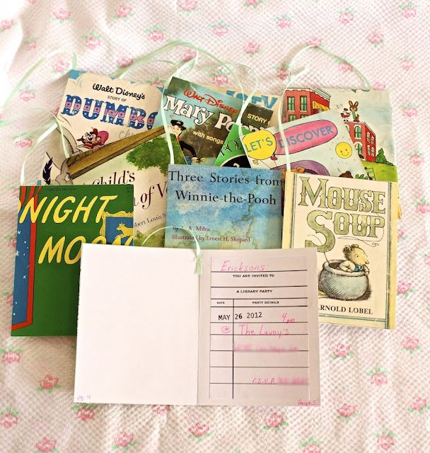 Book/Library/Reading-themed party ideas. This is so cute! More work than I would put into it, but love the invites and favor bags for sure!