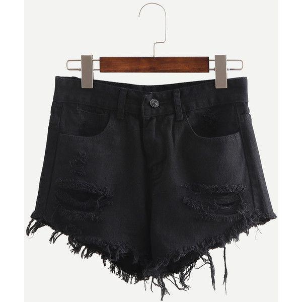 Black Ripped Fringe Denim Shorts ($20) ❤ liked on Polyvore featuring shorts, black, denim shorts, distressed shorts, ripped jean shorts, denim short shorts and destroyed denim shorts
