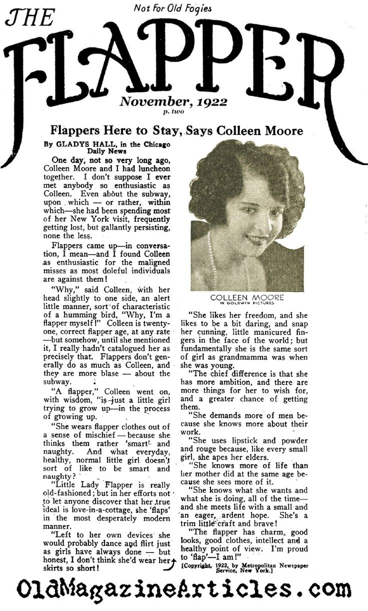 """Colleen Moore Interview, 1922. """"I'm proud to flap,--I am!"""""""