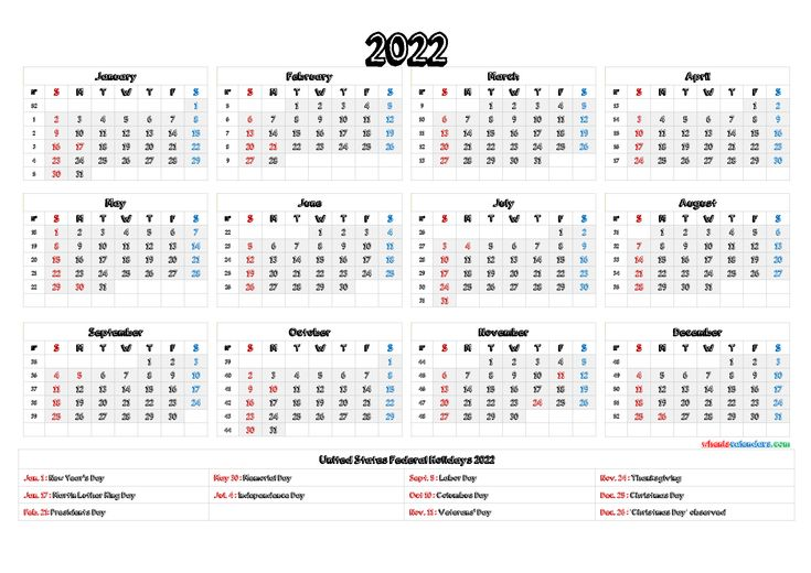 2022 Calendar with Holidays Printable - 6 Templates in ...