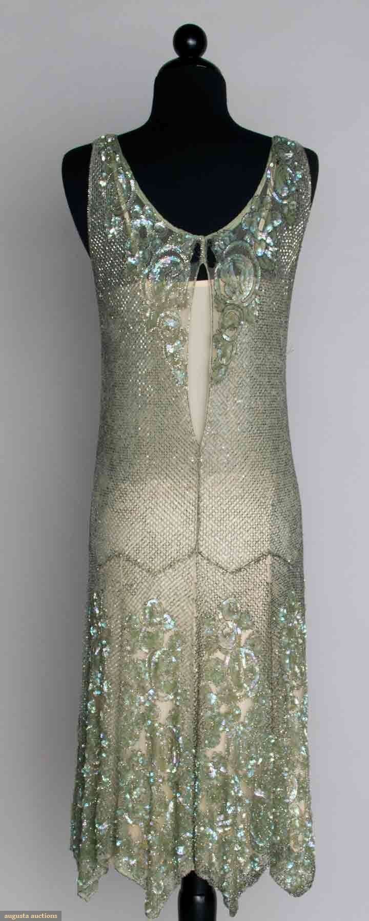 BEADED & SEQUINED DANCE DRESS, 1920s Seafoam green, silver bugle bead lattice pattern w/ irridescent sequined roses at neckline & hem. Back