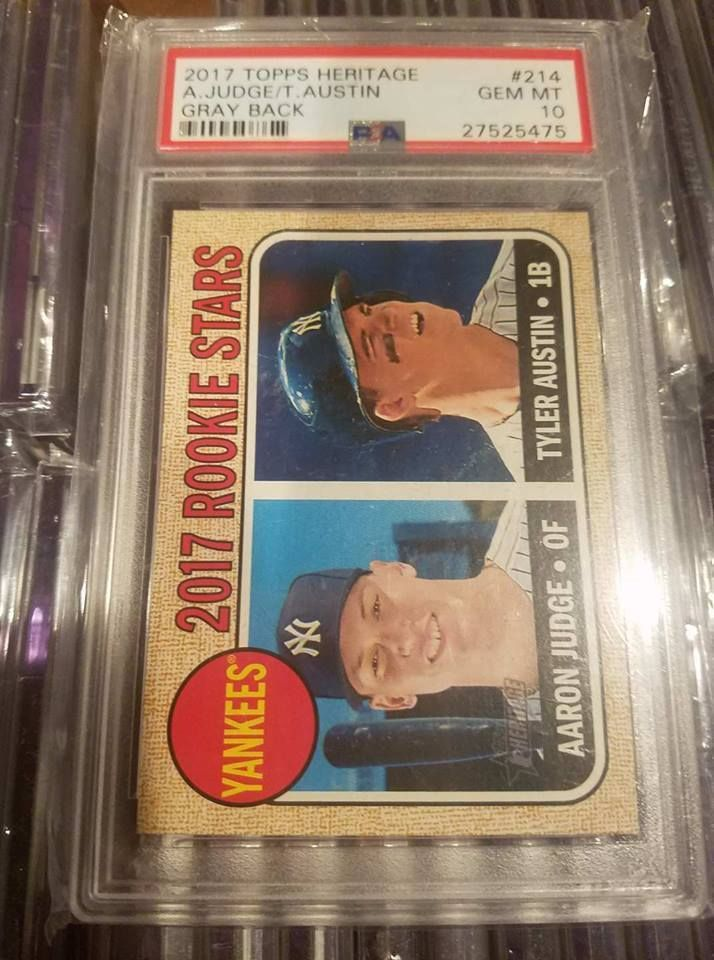 Baseball Cards 213: 2017 Topps Heritage Aaron Judge Tyler Austin Gray Back Ssp 10 Psa 10 Gem-Mint -> BUY IT NOW ONLY: $1499.99 on eBay!