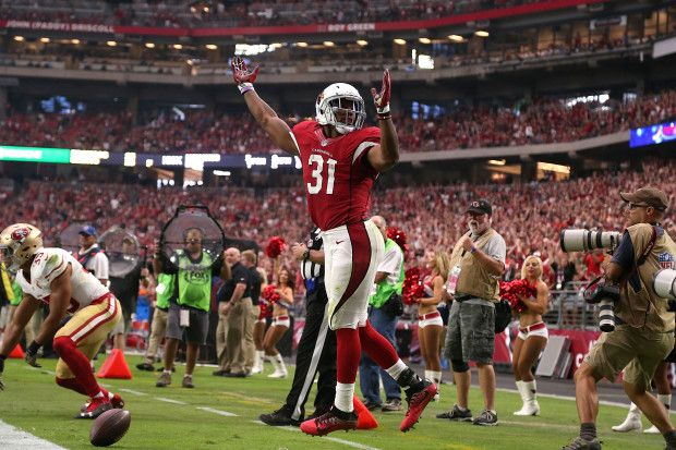 49ers vs. Cardinals:  23-20, Cardinals  -  November 13, 2016  -     Running back David Johnson #31 of the Arizona Cardinals reacts after scoring a touchdown during the second quarter of the NFL football game against the San Francisco 49ers at University of Phoenix Stadium on November 13, 2016 in Glendale, Arizona. (Photo by Chris Coduto/Getty Images)