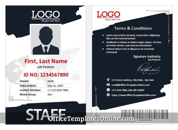 Staff Id Card Template In 2021 Id Card Template Badge Template Card Template