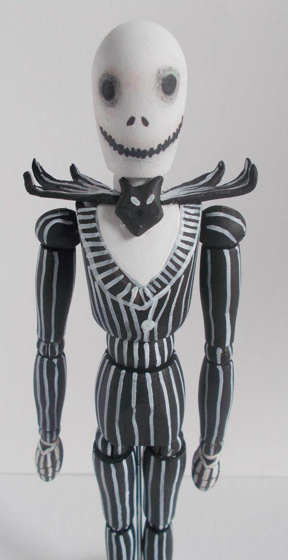 Jack Skellington art doll sculpture wooden figure by mademeathens