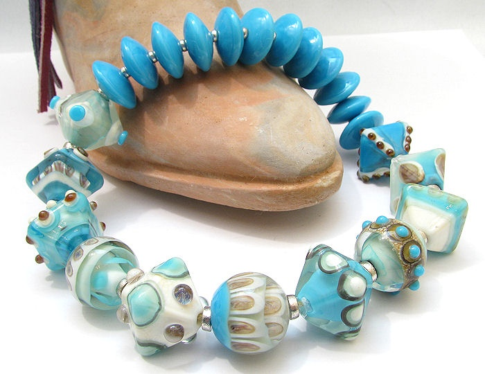 clo handmade glass lampwork beads turquoise and silver glass crystals