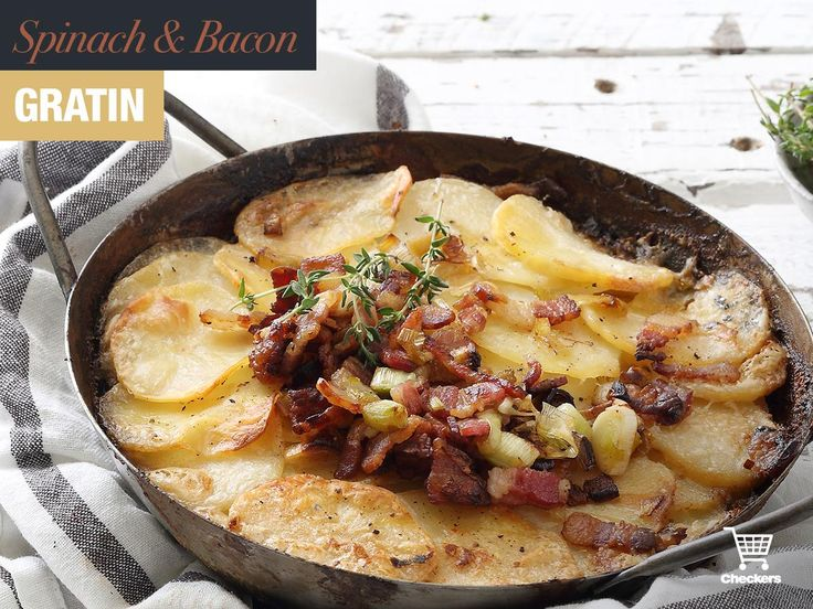 A modern take on a old classic! Spinach and bacon gratin