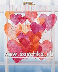 Corazones para decorar las ventanas de los lápices de colores cepillada