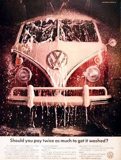 1967 Volkswagen Bus original vintage ad. Photographed in vivid color at the local car wash. Should you pay twice as much to get it washed?