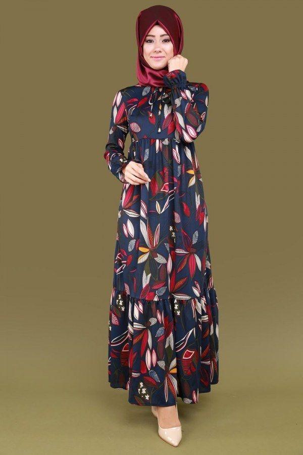 Yaprak Desen Elbise Laci Ürün Kodu: PUA6136--> 64.90 TL
