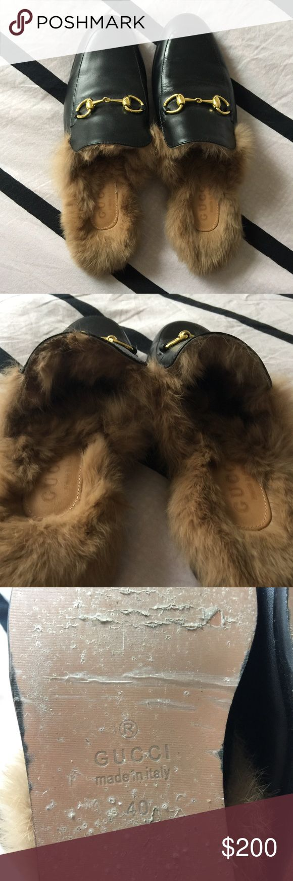 Gucci fur lined horse bit loafers Real fur real leather !! Lovely lovely shoes and such a fantastic price!! Fit more like a 38.5-39. Very sad wish they fit . Worn once for a few hours Gucci Shoes Flats & Loafers