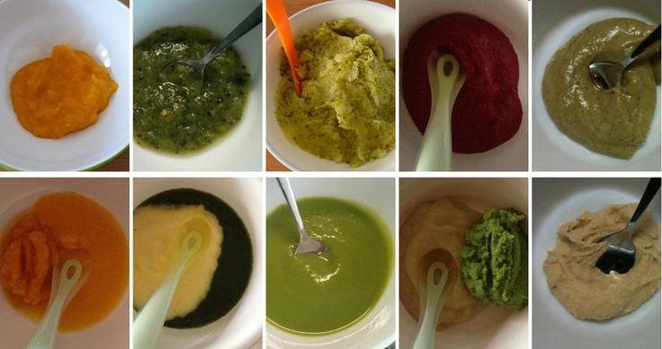 Zavádění dětských příkrmů z různých druhů zeleniny: dýně hokkaido, cuketa, brokolice, červená řepa s bramborou a avokádo s mandlovou pastou, mrkev, špenát s bramborou, zelený hrášek, brambora s brokolicí a cizrna s tahini (sezamovou pastou)