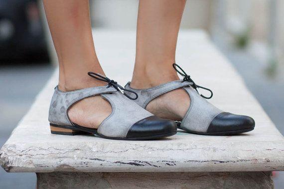 ¡Nuevo! Pisos de sandalias de cuero, cuero, zapatos de cuero, Oxford, zapatos…