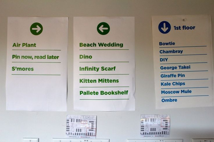 Conference rooms named after popular pins. | 43 Ways Pinterest's Office Is The DIY Paradise You'd Expect
