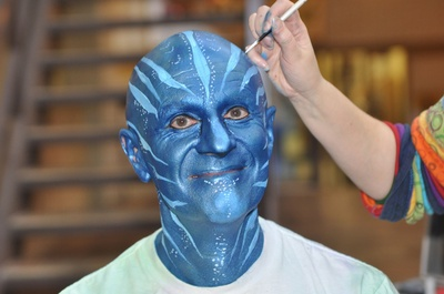 """Avatar Summerlee."" University of Guelph president Alastair Summerlee promised to have an ""Avatar"" makeover if 1500 UofG students voted at advance polls during the last federal election. The students voted, Alastair was painted."